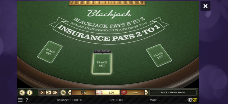 Blackjack tafel